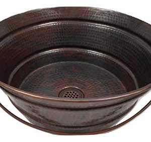 15 Round Hand Forged Copper BUCKET Vessel Sink With 19 Hole Grid Drain By SimplyCopper 0 300x282