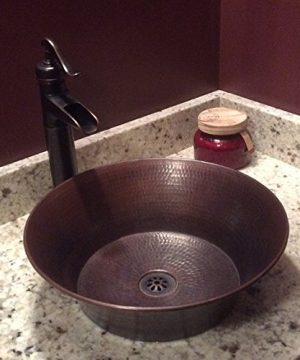 15 Round Rustic Flat Bottom CAZO Vessel Bath Sink With Daisy Drain 0 0 300x360