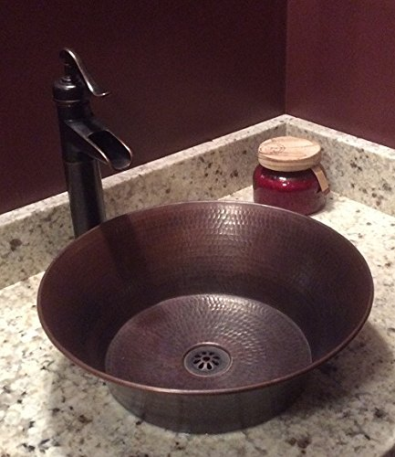 15 Round Rustic Flat Bottom CAZO Vessel Bath Sink With Daisy Drain 0 0