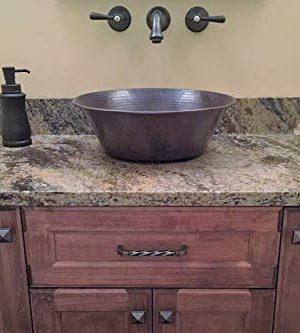 15 Round Rustic Flat Bottom CAZO Vessel Bath Sink With Daisy Drain 0 3 300x333