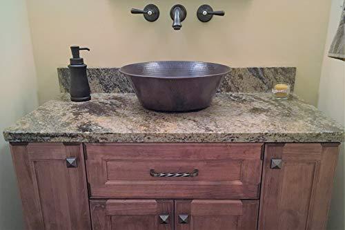 15 Round Rustic Flat Bottom CAZO Vessel Bath Sink With Daisy Drain 0 3
