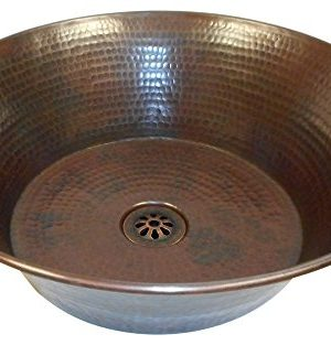 15 Round Rustic Flat Bottom CAZO Vessel Bath Sink With Daisy Drain 0 300x313