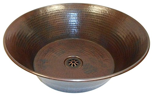 15 Round Rustic Flat Bottom CAZO Vessel Bath Sink With Daisy Drain 0