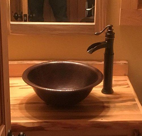 15 Round Vessel Or Drop In Hand Hammered Copper Bath Sink 0 1