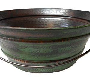 15 Round Vintage Look Copper Bucket Vessel Sink With GREEN Patina With LT Drain And 13 ORB Claymore Vessel Filler Faucet 0 0 300x256