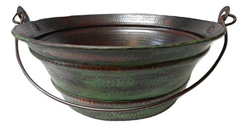 15 Round Vintage Look Copper Bucket Vessel Sink With GREEN Patina With LT Drain And 13 ORB Claymore Vessel Filler Faucet 0 0