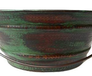 15 Round Vintage Look Copper Bucket Vessel Sink With GREEN Patina With LT Drain And 13 ORB Claymore Vessel Filler Faucet 0 1 300x250