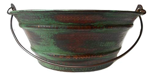15 Round Vintage Look Copper Bucket Vessel Sink With GREEN Patina With LT Drain And 13 ORB Claymore Vessel Filler Faucet 0 1