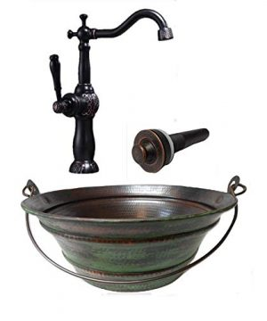 15 Round Vintage Look Copper Bucket Vessel Sink With GREEN Patina With LT Drain And 13 ORB Claymore Vessel Filler Faucet 0 300x360