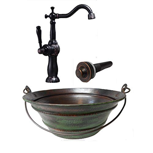 15 Round Vintage Look Copper Bucket Vessel Sink With GREEN Patina With LT Drain And 13 ORB Claymore Vessel Filler Faucet 0