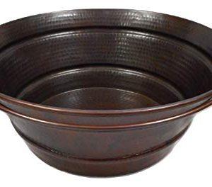 15 Rustic Round Copper BUCKET Vessel Bath Sink With A Daisy Drain 0 300x264