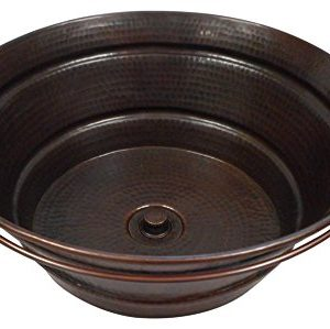 15 Weathered Copper Vessel BUCKET Bathroom Sink With Lift Turn Drain 0 300x299