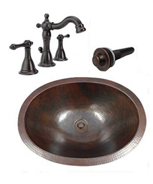16 Vintage Oval COMBO Copper Bath Sink With Lift Turn Drain 2 Handled Faucet In ORB 0 300x360