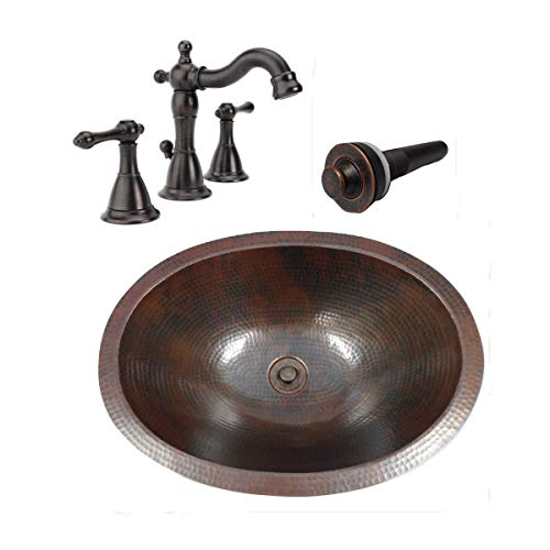 16 Vintage Oval COMBO Copper Bath Sink With Lift Turn Drain 2 Handled Faucet In ORB 0