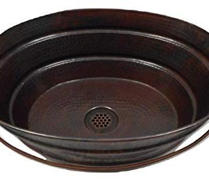 16 X 12 Rustic Oval Copper BUCKET Vessel Bath Sink With 19 Hole Grid Drain By SimplyCopper 0 300x260
