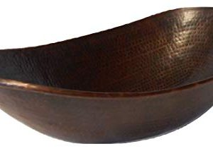 18 Oval Copper Vessel Bathroom Sink Brushed Sedona Highlighting 0 300x214