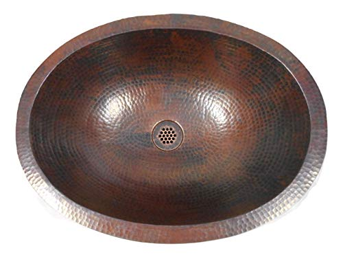 19 Oval Rustic COMBO Copper Bath Sink With 19 Hole Grid Drain 2 Handled Faucet In ORB 0 1