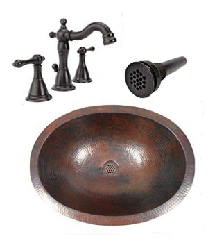 19 Oval Rustic COMBO Copper Bath Sink With 19 Hole Grid Drain 2 Handled Faucet In ORB 0 300x360
