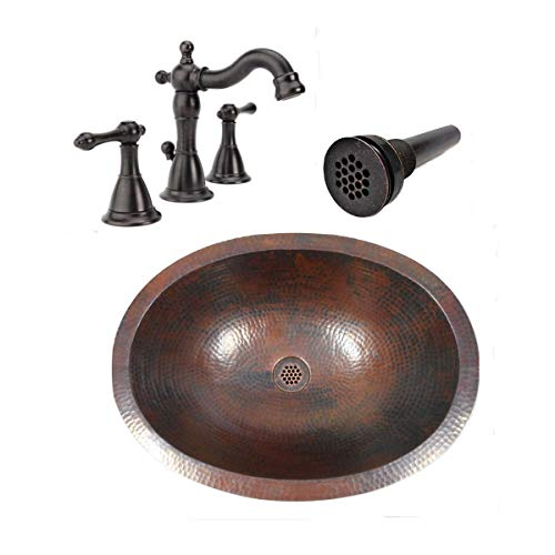 19 Oval Rustic COMBO Copper Bath Sink With 19 Hole Grid Drain 2 Handled Faucet In ORB 0
