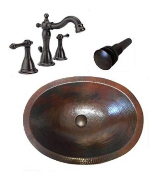 19 Oval Rustic COMBO Copper Bath Sink With Daisy Drain 2 Handled Faucet In ORB 0 300x360