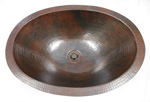 19 Oval Rustic COMBO Copper Bath Sink With Lift Turn Drain 2 Handled Faucet In ORB 0