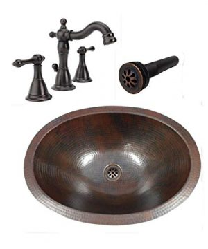 19 Oval Rustic COMBO Copper Bath Sink With Pop Up Drain 2 Handled Faucet In ORB 0 300x360