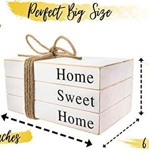2in1 Stack Faux Books For DecorationDecorative White Stacked Farmhouse Decor Wooden Books Book Shelf DecorHome Sweet HomeOur Happy Place SignsAccentsRustic DecorAntiqueBookends 10x6x4 Inches 0 4 300x333