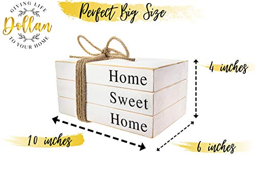 2in1 Stack Faux Books For DecorationDecorative White Stacked Farmhouse Decor Wooden Books Book Shelf DecorHome Sweet HomeOur Happy Place SignsAccentsRustic DecorAntiqueBookends 10x6x4 Inches 0 4