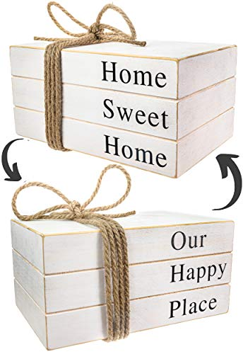 2in1 Stack Faux Books For DecorationDecorative White Stacked Farmhouse Decor Wooden Books Book Shelf DecorHome Sweet HomeOur Happy Place SignsAccentsRustic DecorAntiqueBookends 10x6x4 Inches 0