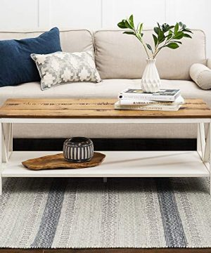 48 Inch Distressed Farmhouse Coffee Table With White Wash Finish 0 300x360