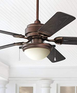 52 Marina Breeze Rustic Farmhouse Country Outdoor Ceiling Fan With Light LED Vintage Oil Brushed Bronze Brown Wet Rated For Patio Exterior House Porch Gazebo Garage Barn Casa Vieja 0 300x360