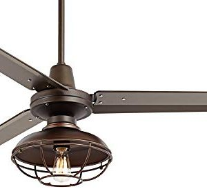 52 Plaza Industrial Farmhouse Vintage 3 Blade Outdoor Ceiling Fan With Light LED Remote Control Dimmable Bronze Cage Damp Rated For Patio Exterior House Porch Gazebo Barn Casa Vieja 0 0 300x274
