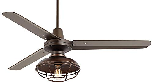 52 Plaza Industrial Farmhouse Vintage 3 Blade Outdoor Ceiling Fan With Light LED Remote Control Dimmable Bronze Cage Damp Rated For Patio Exterior House Porch Gazebo Barn Casa Vieja 0 0