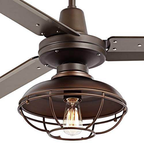 52 Plaza Industrial Farmhouse Vintage 3 Blade Outdoor Ceiling Fan With Light LED Remote Control Dimmable Bronze Cage Damp Rated For Patio Exterior House Porch Gazebo Barn Casa Vieja 0 1