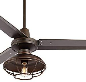 52 Plaza Industrial Farmhouse Vintage 3 Blade Outdoor Ceiling Fan With Light LED Remote Control Dimmable Bronze Cage Damp Rated For Patio Exterior House Porch Gazebo Barn Casa Vieja 0 2 300x286