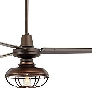 52 Plaza Industrial Farmhouse Vintage 3 Blade Outdoor Ceiling Fan With Light LED Remote Control Dimmable Bronze Cage Damp Rated For Patio Exterior House Porch Gazebo Barn Casa Vieja 0 3 300x298