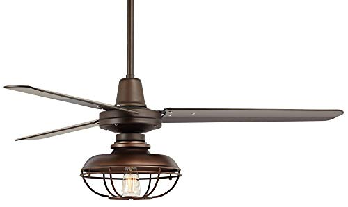 52 Plaza Industrial Farmhouse Vintage 3 Blade Outdoor Ceiling Fan With Light LED Remote Control Dimmable Bronze Cage Damp Rated For Patio Exterior House Porch Gazebo Barn Casa Vieja 0 3