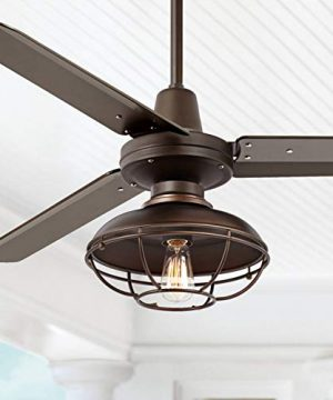 52 Plaza Industrial Farmhouse Vintage 3 Blade Outdoor Ceiling Fan With Light LED Remote Control Dimmable Bronze Cage Damp Rated For Patio Exterior House Porch Gazebo Barn Casa Vieja 0 300x360