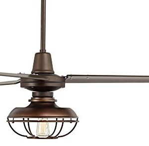 52 Plaza Industrial Farmhouse Vintage 3 Blade Outdoor Ceiling Fan With Light LED Remote Control Dimmable Bronze Cage Damp Rated For Patio Exterior House Porch Gazebo Barn Casa Vieja 0 4 300x294