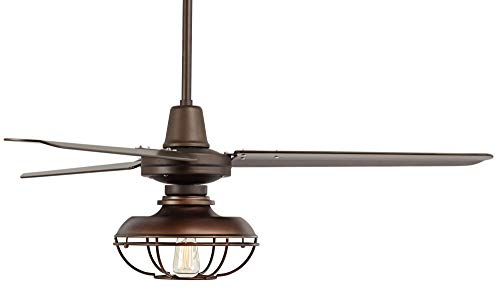 52 Plaza Industrial Farmhouse Vintage 3 Blade Outdoor Ceiling Fan With Light LED Remote Control Dimmable Bronze Cage Damp Rated For Patio Exterior House Porch Gazebo Barn Casa Vieja 0 4