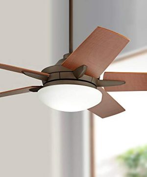 56 Casa Endeavor Modern Contemporary Ceiling Fan With Light LED Dimmable Remote Control Oil Rubbed Bronze Natural Walnut Veneer Blades Living Room Kitchen Bedroom Family Dining Casa Vieja 0 300x360