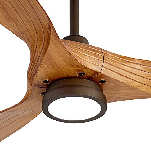 60 Aireon Modern Rustic Outdoor Ceiling Fan With Light LED Remote Control Rubbed Bronze Walnut Finish Blades Damp Rated For Patio Casa Vieja 0 1