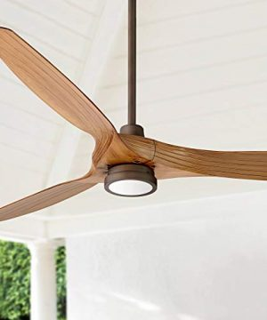 60 Aireon Modern Rustic Outdoor Ceiling Fan With Light LED Remote Control Rubbed Bronze Walnut Finish Blades Damp Rated For Patio Casa Vieja 0 300x360