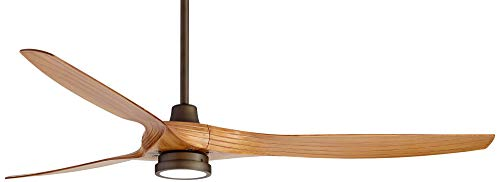 60 Aireon Modern Rustic Outdoor Ceiling Fan With Light LED Remote Control Rubbed Bronze Walnut Finish Blades Damp Rated For Patio Casa Vieja 0 4