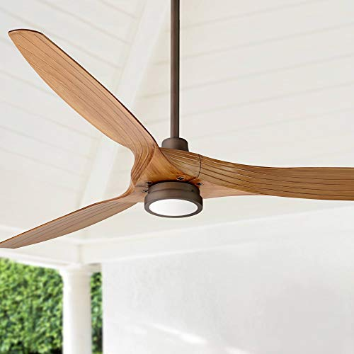 60 Aireon Modern Rustic Outdoor Ceiling Fan With Light LED Remote Control Rubbed Bronze Walnut Finish Blades Damp Rated For Patio Casa Vieja 0
