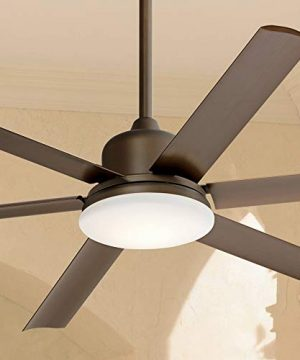 60 Casa Arcade Modern Outdoor Ceiling Fan With Light LED Dimmable Oil Rubbed Bronze Brown Damp Rated For Patio Porch Casa Vieja 0 300x360