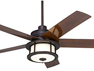 60 Casa Largo Modern Outdoor Ceiling Fan With Light LED Oil Brushed Bronze Dark Walnut Blades Frosted White Glass Damp Rated For Patio Porch Casa Vieja 0 0 300x226