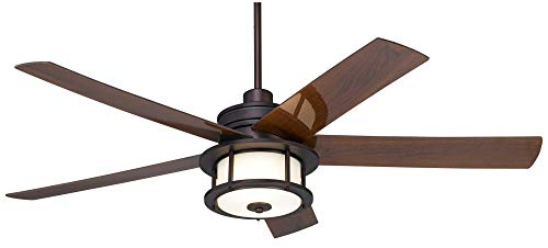 60 Casa Largo Modern Outdoor Ceiling Fan With Light LED Oil Brushed Bronze Dark Walnut Blades Frosted White Glass Damp Rated For Patio Porch Casa Vieja 0 0