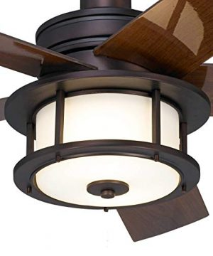 60 Casa Largo Modern Outdoor Ceiling Fan With Light LED Oil Brushed Bronze Dark Walnut Blades Frosted White Glass Damp Rated For Patio Porch Casa Vieja 0 1 300x360