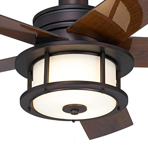 60 Casa Largo Modern Outdoor Ceiling Fan With Light LED Oil Brushed Bronze Dark Walnut Blades Frosted White Glass Damp Rated For Patio Porch Casa Vieja 0 1